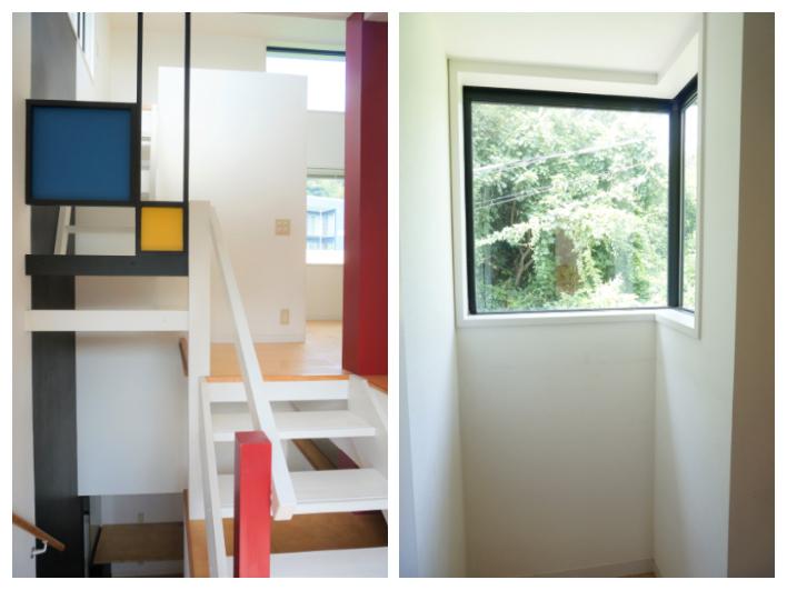 ロフトへの階段は現代アートな色使い。ちょっとした窓からの景色も素敵