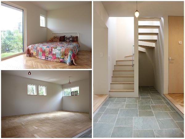 1階。玄関からすっきりと突き抜けるタイルの土間。その両サイドが居室。お庭側の居室はヘリンボーン貼り。