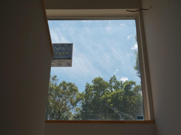 階段を上がっている時に顔を上げると、この景色。緑と青空を切り取る窓。