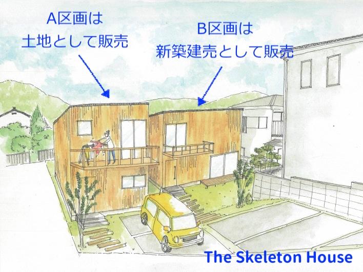 となりはスケルトンハウスの建築条件付き売地。お隣さんとつかず離れずのナイスな距離感。