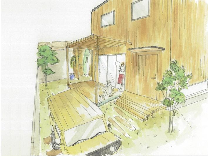 外観完成イメージ。南側のお庭には6帖弱のウッドデッキ&パーゴラを設置!ハンモックをかけよう!愛車も庭先まで入れるのでいつでも眺められて安心。