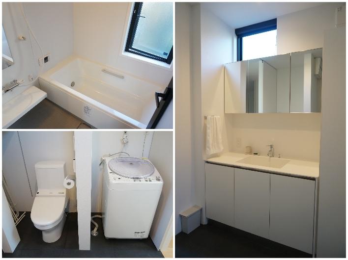 シンプルで洗練された水回り。バスルームには浴室暖房乾燥機が設置されています。