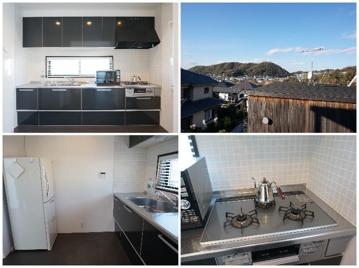 広くて使いやすいとてもきれいなキッチン。裏手に棚もあって便利!窓からは三ヶ岡の山並みを望みます。