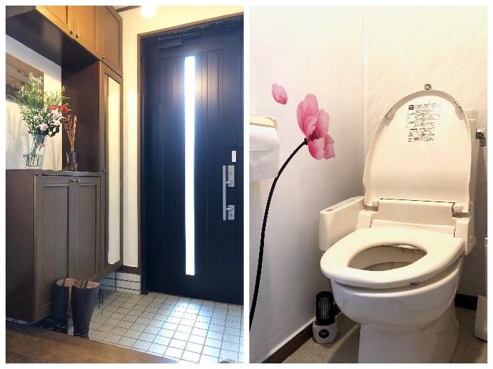 トイレが2つあるのは嬉しい。ピンクのお花で女性らしさも演出。