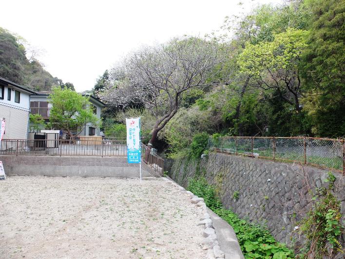 宅地から北側方向。小川沿いに緑陰が続きます。