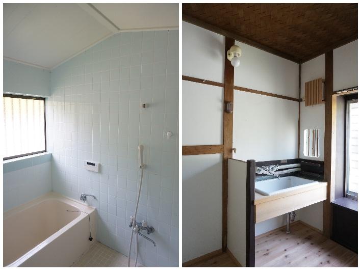 きれいなお風呂場と脱衣所。リノベ済。