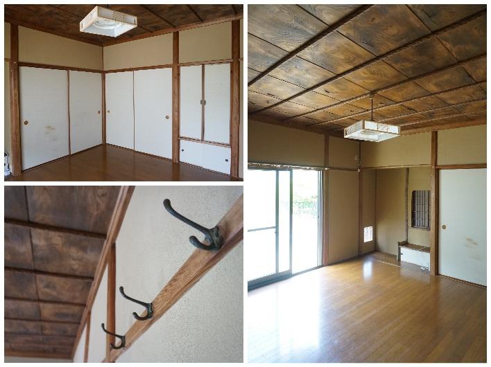 西側の洋室。天井がカッコいい〜!床の間もあります。