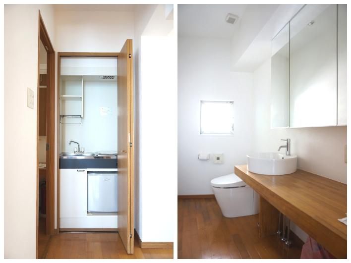 ミニキッチンとミニ冷蔵庫付き。洗面所とトイレはゆったりしてて使い勝手よさそう。