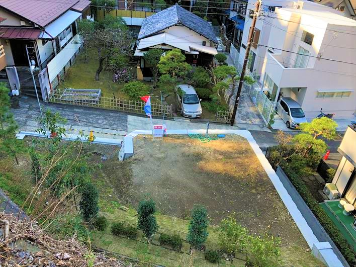 敷地全景を上空から撮影。