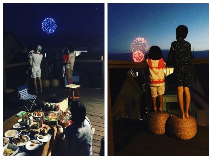 葉山の花火大会は屋上テラスで。ご近所のみんなを呼んで、夏の宴会♩
