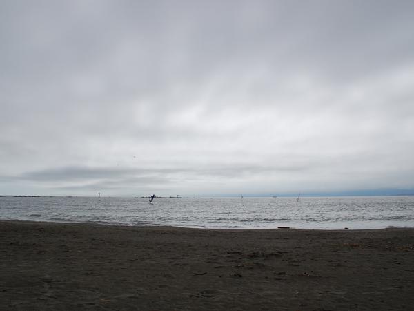 すぐ前は森戸のビーチ