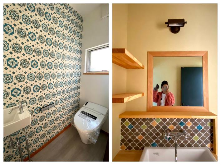 可愛い壁紙のトイレ。バスルーム横の洗面は造作。タイルがいいねぇ♡
