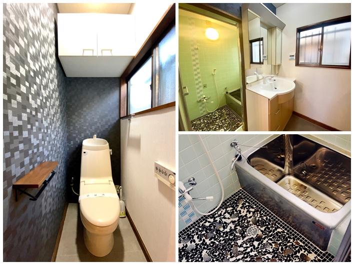 壁紙が特徴的なトイレ。タイル張りが綺麗な浴室。
