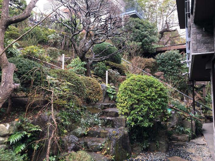 地形を生かした美しいお庭。手入れも行き届いています。