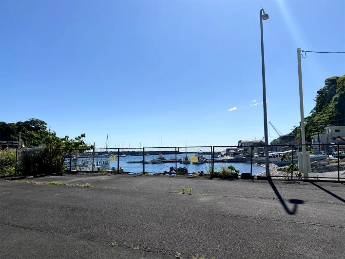 土地の真ん中に立って、写真をパシャリ。漁港ビュー、渋くて最高!