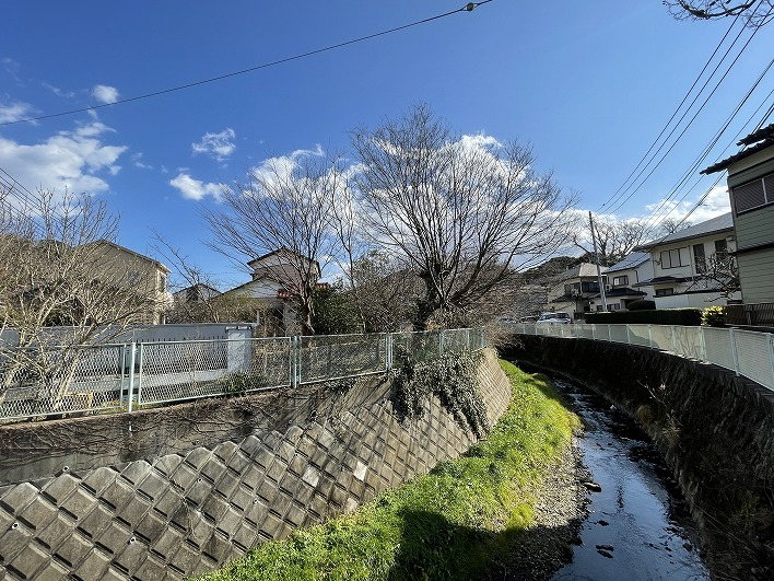 蛍の姿が見られる田越川。