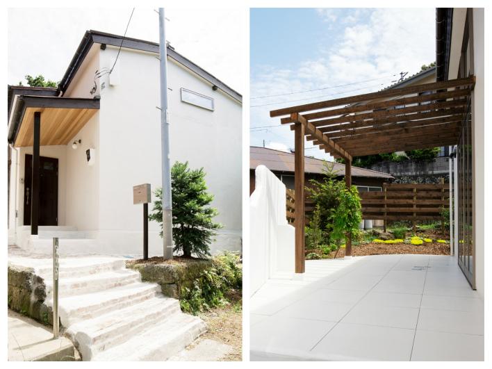 シンプルな外観!パッと見、平屋には見えない(天井が高いから)。タイル貼りのバルコニーにはテーブルとイスを置いてブランチしましょ!