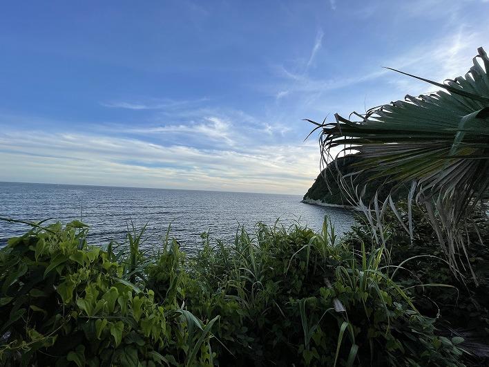 岬の裏側が大崎のサーフポイント。