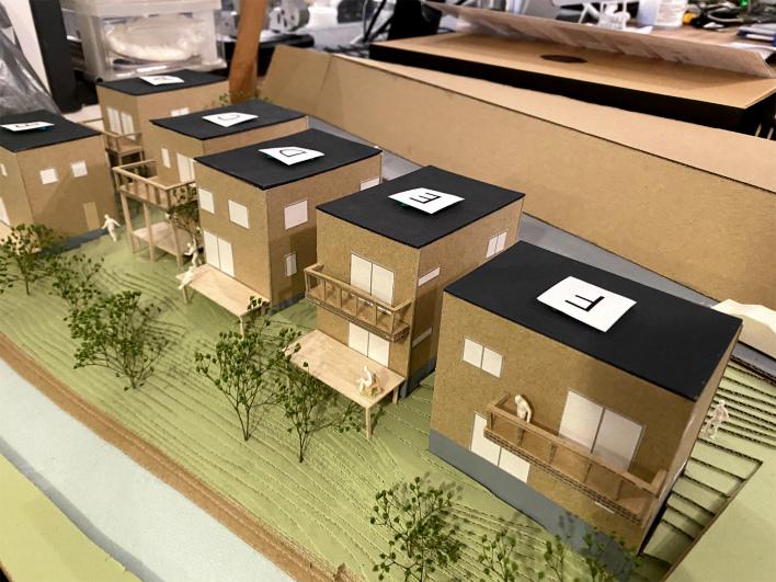 スケルトンハウスヴィレッジ、完成予想模型。手前がF区画です!