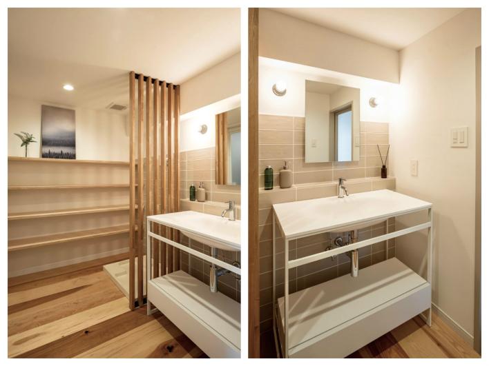 洗面室。棚もたくさんあります。
