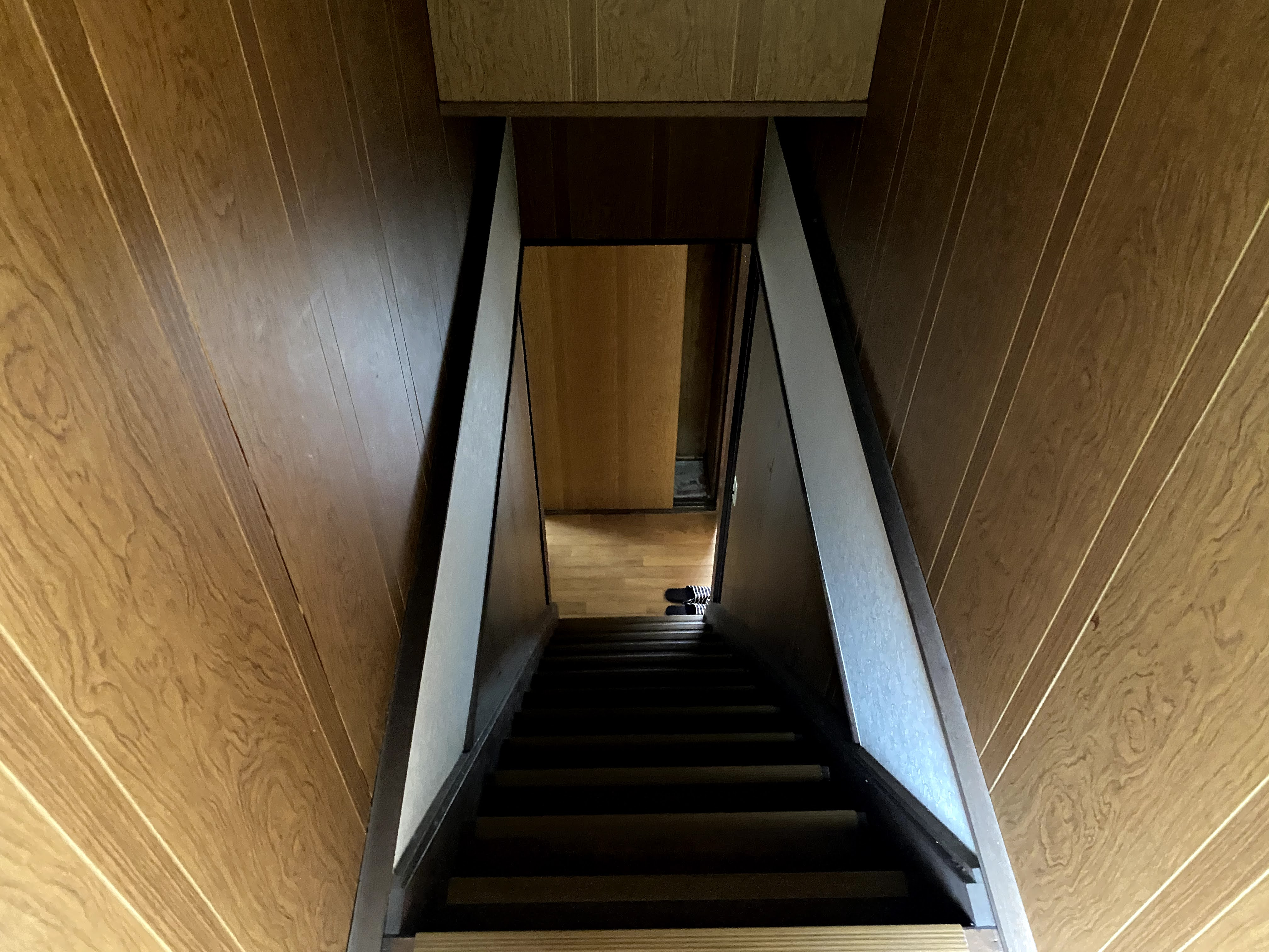 2階へ上がる階段の急さよ。これが昭和スタンダード。