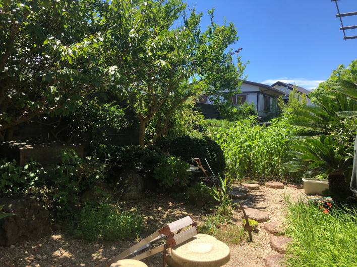 庭も緑がいっぱい。掘り込み式駐車場のため、庭が広く使えます。畑作ってとれたて野菜をその場でバーベキュー!