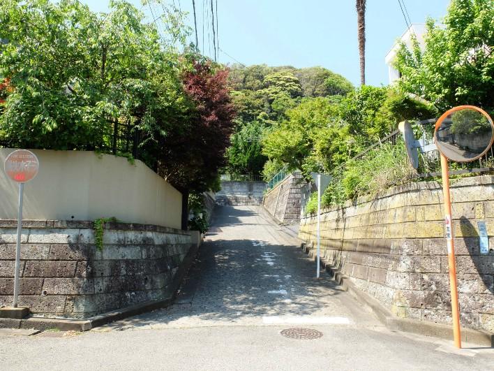 整備された住宅地。坂を登り切った先に、我が家があります。